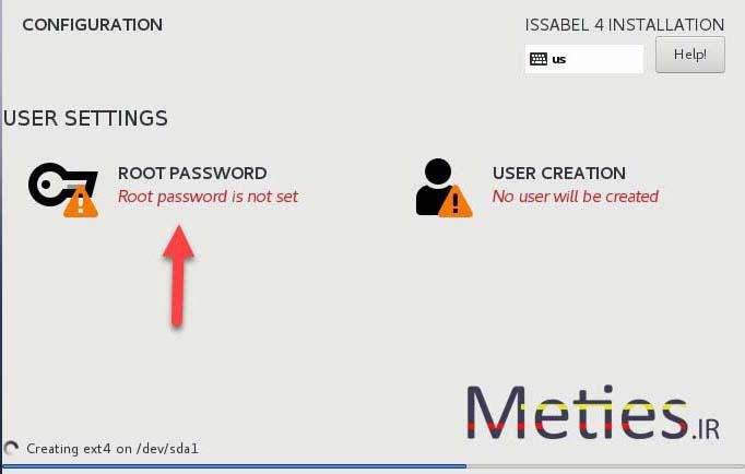 انتخاب رمز مدیر لینوکس در نصب ایزابل